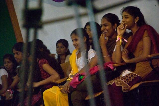 A rapt audience watching the female version of Dahi handi