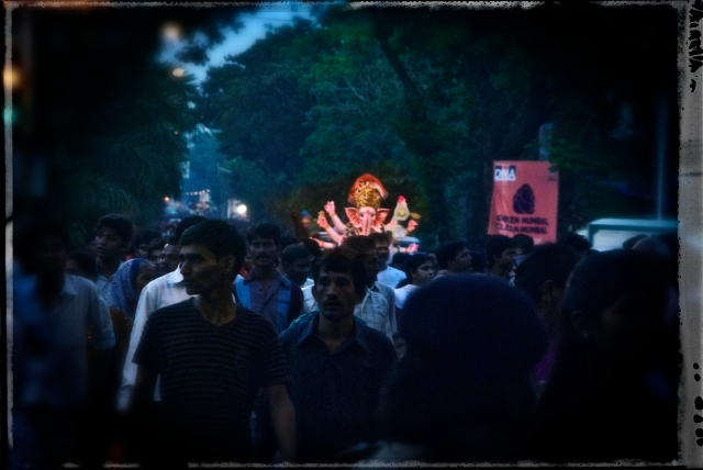 Ganesh Visarjan after a day and a half: Celebrating life requires resources and patience. Hence I suppose the various short and long timelines for the immersion of the idol. This one goes to the ocean