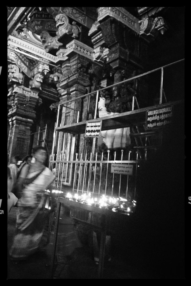 Every night, a deity of Lord Shiva (or Sundareswarar) is carried out from his shrine by temple priests in procession, to his wife Meenakshi's shrine where he'll spend the night.The goddess's gold feet are brought out from her shrine, while Shiva's chariot is fanned to keep it cool.
