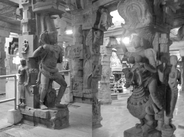 Sculptures on columns everywhere. There is so much to see and understand about Hindu mythology, you need more than a week to soak in all the tales of the love that bound Shiva and Parvati.