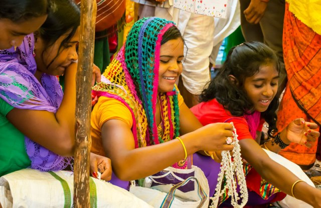 Faux silver jewellery and printed polyester sarees from Gujarat have found their way into this region. They're cheaper to buy than weave at home, the old fashioned way.